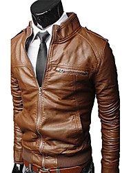 ZHELIN Stand Collar Washed Locomotive Short Leather Coat