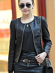 Women's  Leather Short Slim jacket Translation