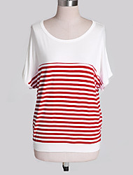 Damen Punkt / Gestreift Einfach Lässig/Alltäglich T-shirt,U-Ausschnitt Sommer Kurzarm Blau / Schwarz / Orange Andere Dünn