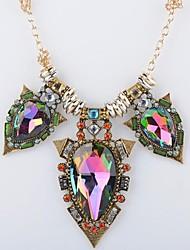 aleación de la manera collar de piedras preciosas de colores de las mujeres