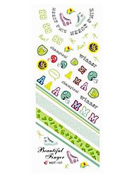 2шт Зеленый каллиграфическим почерком от руки Дизайн ногтей Watermark наклейки HOT-137