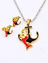 Fashion Red Mermaid ancoraggio in titanio acciaio collane e orecchini Gioielli Set
