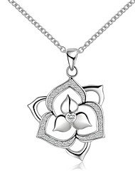 Elegant Style Sterling Silver Flower Pave Zircon Pendant Necklace for Women