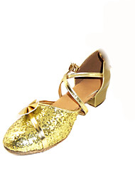 Non Customizable Women's/Kids' Dance Shoes Latin/Ballroom Sparkling Glitter Chunky Heel Gold