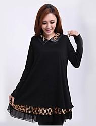 das mulheres camisa de colarinho cópia do leopardo mini-manga longa soltas, mais o vestido de tamanho