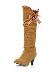 Women's Shoes Suede Fall / Winter Riding Boots Casual Cone Heel Lace-up Black / Brown / Yellow / Purple