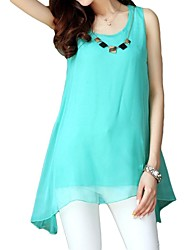 Women's Sleeveless Asym Hem Chiffon Blouse with Necklace