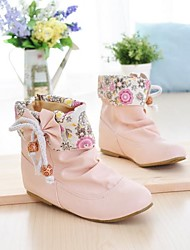 Women's Fall / Winter Fashion Boots Leatherette Casual Flat Heel Bowknot / Animal Print / Lace-up Black / Pink / White / Beige