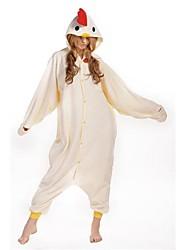 nouveau cosplay poulet blanc polaire kigurumi adulte pyjama