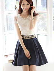 Hanyiou Round Collar Short Sleeve Lace Fitted Beads Shirt