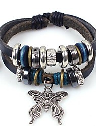 Unisex's Butterfly Beads Leather Braided Bracelets