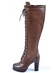 damesschoenen mode laarzen dikke hak lederen kniehoge laars met vetersluiting