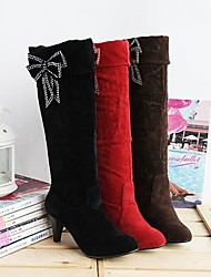 VROUWEN - Half-kuitlaarzen - Ronde Teen/Fashion Boots - Laarzen ( Zwart/Bruin/Rood ) - met Cone Heel - en Suède