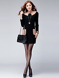 Women's Plus Size / Vintage / Cute Dress Above Knee Long Sleeve Black Cotton Spring / Fall / Winter