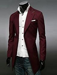 Men's Long Sleeve Regular Trench coat , Cotton Blend Pure