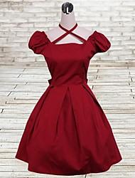 Une Pièce/Robes Lolita Classique/Traditionnelle Lolita Cosplay Vêtements de Lolita Rouge Couleur Pleine Manches courtes Moyen Robe Pour