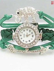 Women's Crystal  Butterfly/Elephant/Star/Eiffel Tower Leather Weave Band Quartz Analog Bracelet  Watch(Assorted Colors) Cool Watches Unique Watches