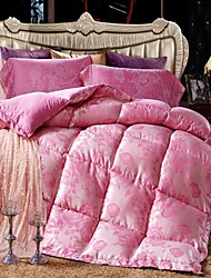 Shuian® Comforter Winter Quilt Keep Warm Thickening Plume Velvet Quilts with Jacquard Fabric and Pink Color