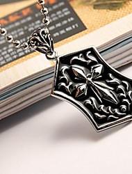Men's Fashion Personality Titanium Steel Cross Brand Hexagon Pendant Necklaces