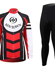XINTOWN Men's Contracted Quick Dry Moisture Absorption Long Sleeve Cycling Suit—Red+Black
