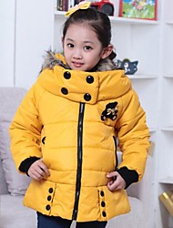 Girl's Pink / Red / Yellow Down & Cotton Padded / Jacket & Coat Cotton Blend Winter / Fall