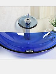 сапфир слиток раковина закаленное стеклянный сосуд с waterfull набора крана