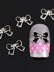 10pcs 3D Black Bowknot With Silver Alloy Line Nail Art Decoration