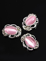 10pcs Vintage Design Oval Pink Cat Eye Stone 3D Rhinestones Alloy Nail Art Decoration