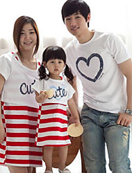 Family's Fashion Joker Leisure Parent Child Love Stripe Short Sleeves T Shirt And Dress
