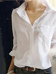 Women's Spring / Summer / Fall Shirt / Blouse Long Sleeve White Sheer / Thin