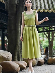 TS Women's Embroidery O-Collar Midi Dress(With Belt)