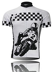 XINTOWN Men 's Car Logo Breathable Polyester Short Sleeve Cycling Jersey -Black+White