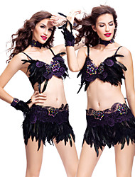 Samba Outfits Women's Feathers Crystals/Rhinestones / Lace Dark Purple / Royal Blue Performance / Samba