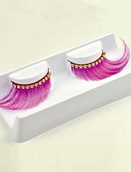 1 Paar rosa 100% handgemacht Kunstfaser mit dimonds, Kunststoff transparent schimmernde Stiel falsche Wimpern