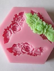 три длинных цветок выпечки помадка торт шоколадные конфеты плесень, l7.3cm * w7.3cm * h1cm