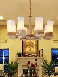 pingente de carvalho lâmpada, oito luzes, carvalho e vidro, 220 ~ 240V (hy2368)