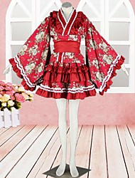Kimono Long Sleeve Knee-length Red Satin Wa Lolita Outfit