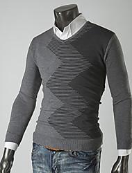 g&y Les rayures de mode pull à manches longues (blanc, gris)