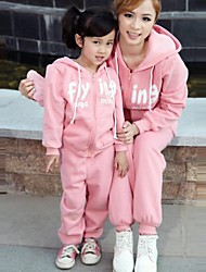 Family's Fashion Leisure Mother Daughter Long Sleeved Exercise Hooded Clothing Set