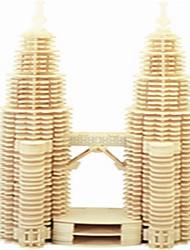 torres gêmeas forma de madeira montados blocos de construção de brinquedos