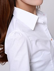 Women's Solid White Blouse , Shirt Collar Long Sleeve Button/Layered