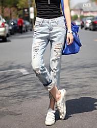 Women's Casual Plus Size Hole Leopard Roll up Hem Capri Denim Jeans