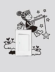 stickers muraux stickers muraux, moderne, la petite fille pour attraper étoiles muraux PVC autocollants