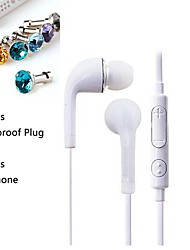 1pcs 3,5 milímetros fone de ouvido com controle de linha e 1pcs dustproof plug diamante para Samsung S4 / S5 todos os telefones andriod