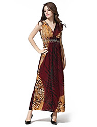 Moda feminina decote em V profundo Leopard Print boêmio Vestidos Maxi (Padrão de Localização aleatoriamente)