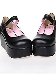 Schuhe Klassische/Traditionelle Lolita / Punk Lolita Plattform Schuhe einfarbig 7 CM Schwarz / Rosa Für Damen PU - Leder/Polyurethan Leder