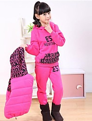Children's Fashion And Leisure Pure Color Warm Long Sleeves Sports Three Piece Clothing Set