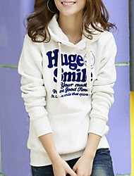 Women's Pink/Red/White Hoodies , Bodycon/Casual/Print/Cute/Work Long Sleeve