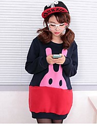 Women's Rabbit Head Print Fleece Blouse T-Shirts