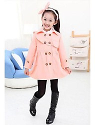 Girl's Fashion Ladies Corrugated Edge Double Breasted Trench Coats